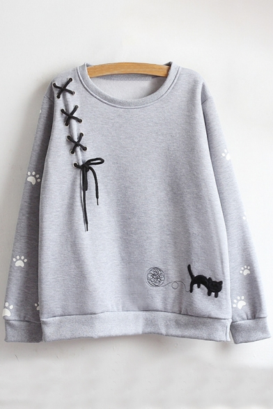 Round Sleeve Cartoon Cat Long Sweatshirt Neck Embroidered Pullover aOwgBCq
