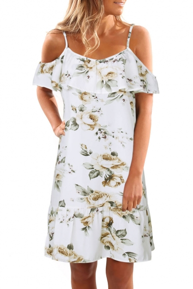 Chic Floral Pattern Cold Shoulder Ruffle Hem A-line Mini Dress