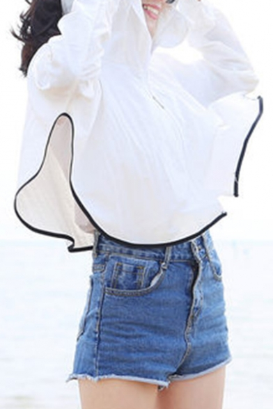 Lovely Cat Design Hooded Zippered Long Sleeve Cropped Sun Coat