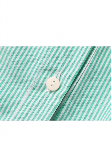 New Arrival Lapel Collar Elastic Back Buttons Down Long Sleeve Shirt