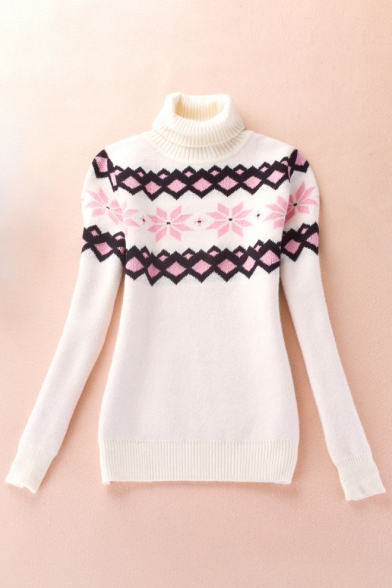 Jacquard Sleeve Sweater Long Roll Stylish New Pullover Detail Collar 15qwHSf