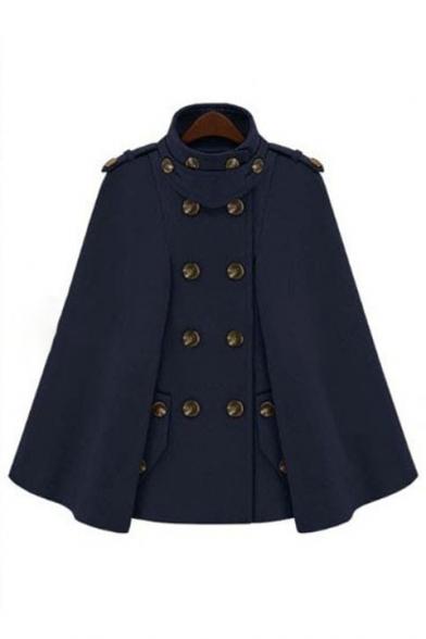 Double Turtleneck Breasted Poncho Coat New Plain Stylish UqxFwE
