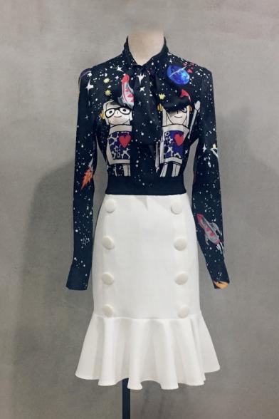 Simple Plain Double Buttons Embellished Zipper Back Midi Fishtail Skirt