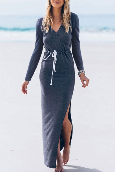 Simple Plain V-Neck Drawstring Waist Split Side Long Sleeve Wrap Maxi Dress