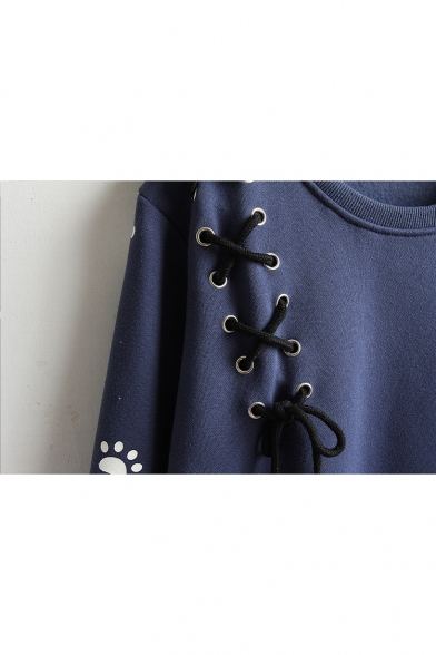 Neck Round Long Sleeve Embroidered Cartoon Cat Pullover Sweatshirt tFwPq8P
