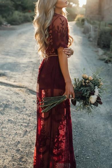 Chic Deep V-Neck Floral Lace Sheer Mesh Split Side Short Sleeve Maxi Dress