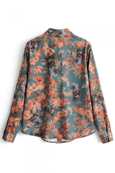 Chic Floral Pattern Lapel Collar Long Sleeve Buttons Down Shirt