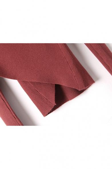 V Long Embellished Pearl Slim Fashion Sleeve Neck Sweater Crosses axtawH
