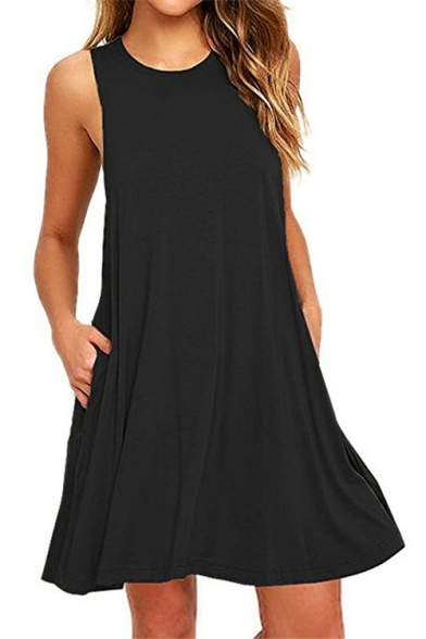 New Fashion Simple Plain Round Neck Sleeveless Mini Swing Dress