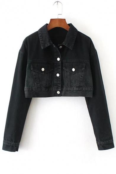 Simple Plain Lapel Single Breasted Long Sleeve Cropped Denim Jacket