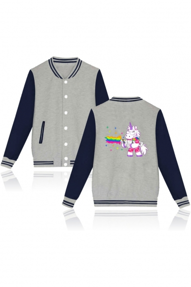 Cute Cartoon Unicorn Print Stand-Up Collar Long Sleeve Unisex Baseball Jacket
