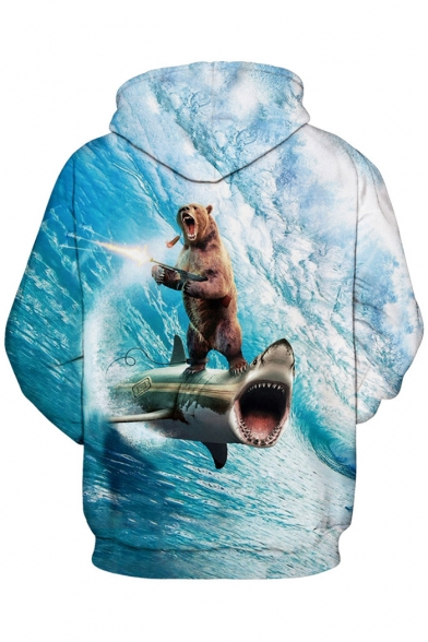 Sleeve Fashion Pattern Leisure Hoodie Long 3D Surfing Sports Unisex Bear wXrTqOXxB