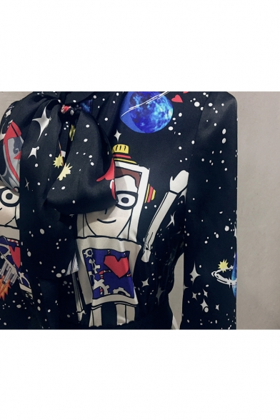 New Fashion Starry Robot Pattern Bow Neck Long Sleeve Blouse
