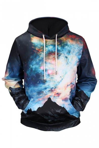 New Stylish Starry Sky Print Drawstring Hood Pocket Long Sleeve Unisex Hoodie