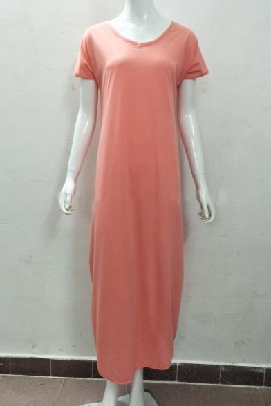 Simple Plain V-Neck Split Side Short Sleeve Maxi Dress