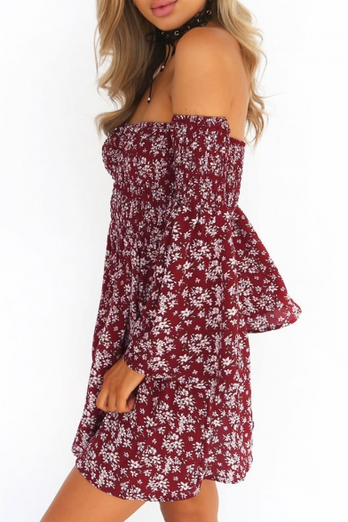 Chic Floral Pattern Off-the-Shoulder Flare Long Sleeve A-line Beach Mini Dress