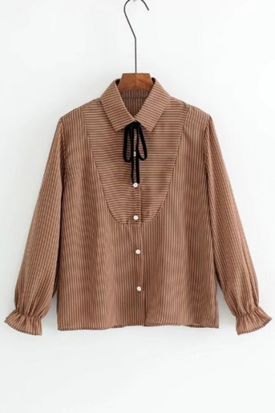 Classic Striped Printed Lapel Collar Long Sleeve Casual Buttons Down Shirt