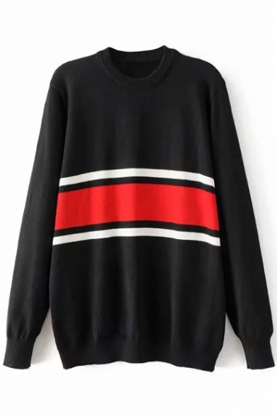 Fashion Color Block Striped Print Round Neck Long Sleeve Pullover Sweater, LC452838, Black;blue;white