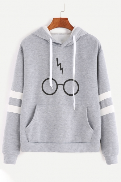 Fashion Print Drawstring Hood Stripe Embellished Long Sleeve Pocket Hoodie