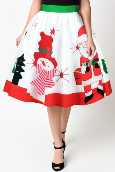 Hot Fashion Snowman Santa Claus Printed High Rise Midi Flared Skirt