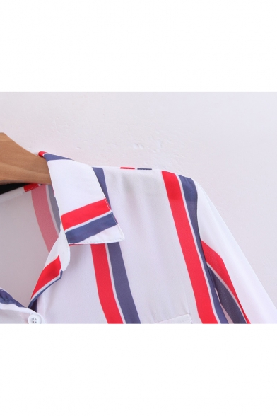 Lapel Collar Long Sleeve Striped Pattern Buttons Down Shirt with Double Pockets