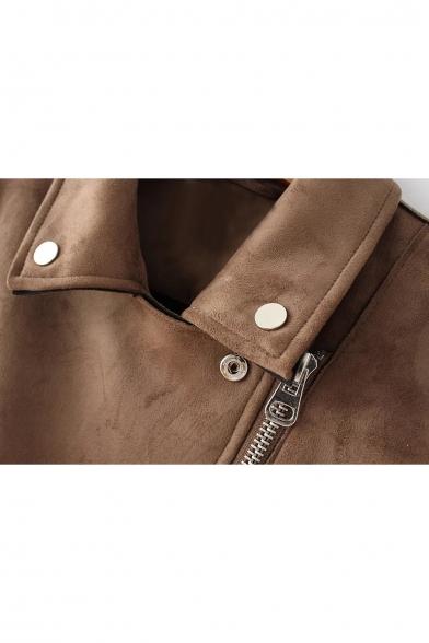 Jacket Embellished Stylish Biker Collar Notched Belted Zipper Waist New UHITaq1wU