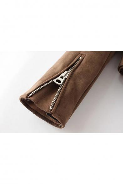 New Stylish Notched Collar Zipper Embellished Belted Waist Biker Jacket