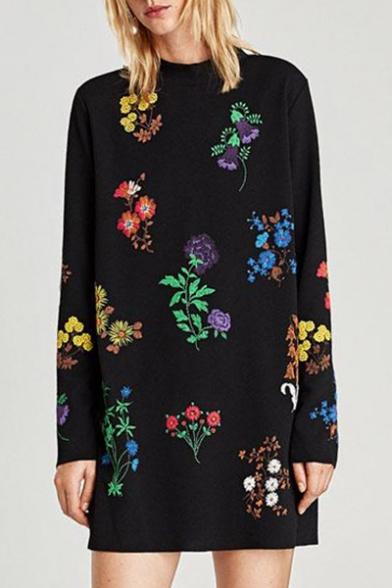 Round Neck Long Sleeve Fashion Floral Pattern Mini Loose Shift Dress