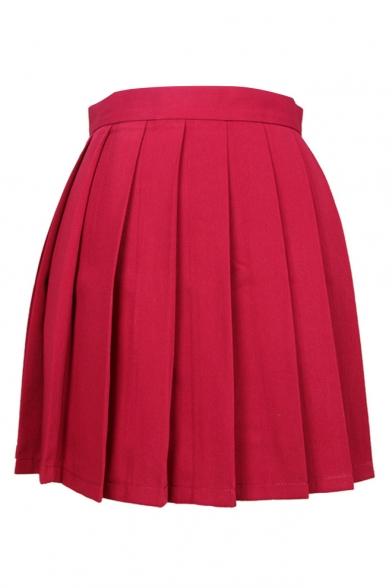 Simple Plain High Waist Pleated Short Skirt