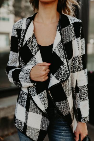 Chic Color Block Lapel Plaid Long Sleeve Coat