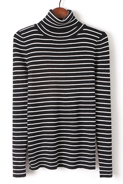Slim Simple Pattern Striped Classic Sweater Turtleneck Long Sleeve TYqHA8AvO