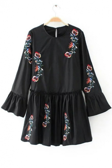Color Block Floral Embroidered Round Neck Ruffle Cuff Long Sleeve Short Dress