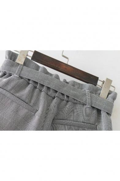 Fashion Plaids Pattern High Rise Tied Waist Casual Leisure Loose Shorts
