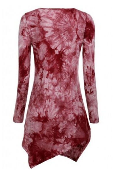 Dye Short Dip Round Pattern Neck Floral Asymmetric Sleeve Long Hem Dress gwOHnqE