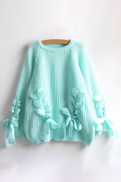 Long Round Fashion New Sleeve Pullover Crisscross Sweater Embellished Ribbon wvfnxqCa