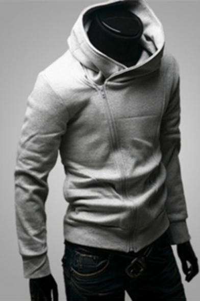 Simple Plain Zippered Long Sleeve Hoodie