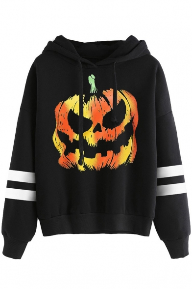 Halloween Collection Color Block Pumpkin Print Ribbed Long Sleeve Hoodie