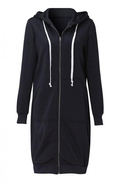 Leisure Simple Plain Zippered Hooded Longline Long Sleeve Coat
