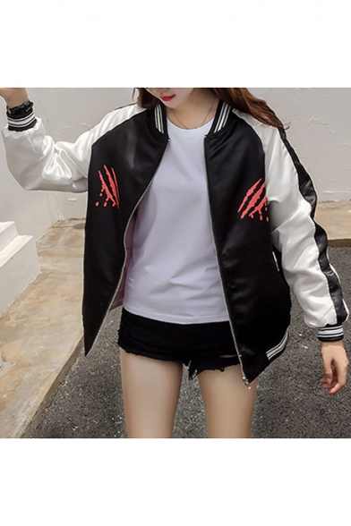 Letter Print Contrast Collar Striped Long Sleeve Baseball Jacket