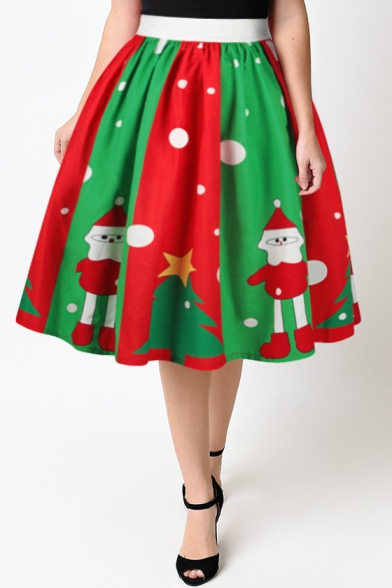 Lovely Cartoon Santa Claus Printed High Rise Midi Flared Skirt Beautifulhalo Com