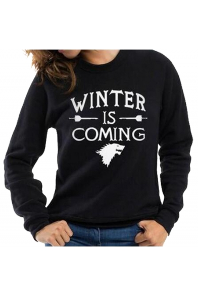 New Arrival Color Block Letter Print Round Neck Long Sleeve Pullover Sweatshirt