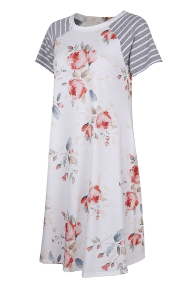 Simple Leisure Floral Pattern Round Neck Striped Short Sleeve T-shirt Mini Dress