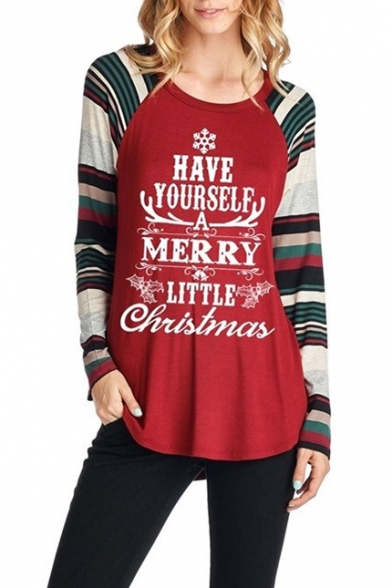 Letter Series Pattern Hem Block Christmas 2017 Color Curved Sleeve T Long Shirt Pullover waZ1qx