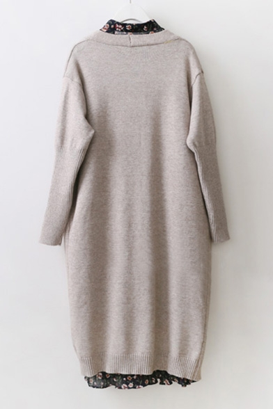 Colarless Cardigan Longline Basic with Plain Long Pockets Sleeve Awxfnz5fq