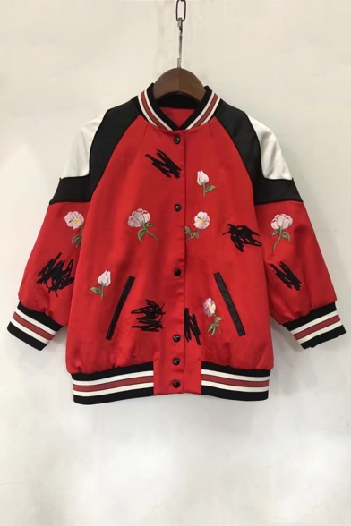 Color Collar Sleeve Long Stand Embroidered Floral Baseball Jacket Contrast Up Block rFwBr6xq7