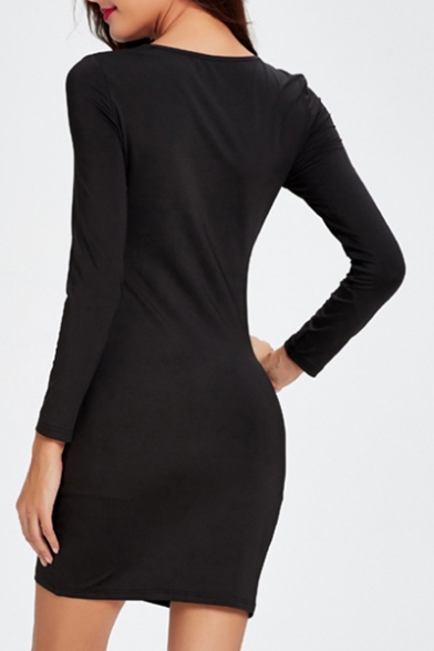 Fashion Cut out Front Solid Round Neck Long Sleeve Skinny Dress