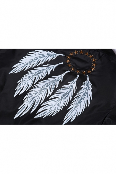 Fashion Feather Print Stand-Up Collar Long Sleeve Zipper Leisure Bomber Jacket
