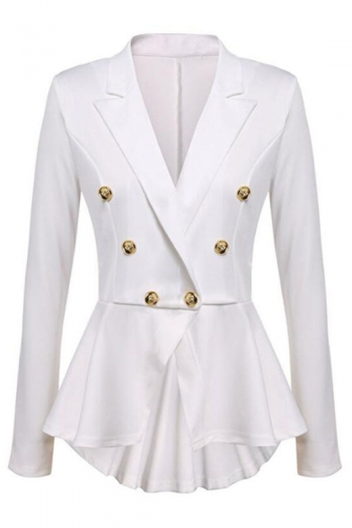 Fashion Plain High Low Hem Notched Lapel Long Sleeve Double-Breasted Blazer