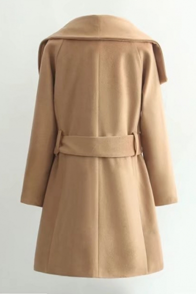 Tunic Long Belted Folded Collar Coat Sleeves Solid 51XnHqP