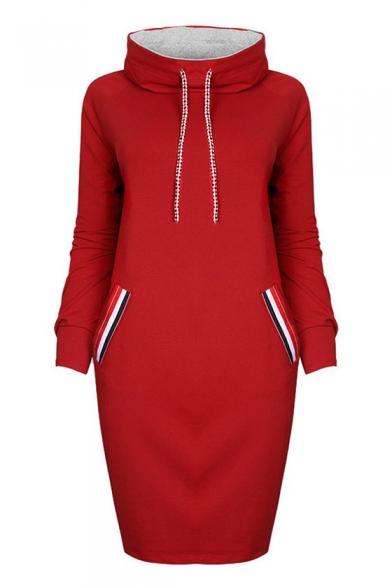 Hot Popular Long Sleeve Color Block Winter's Warm Tunic Hoodie